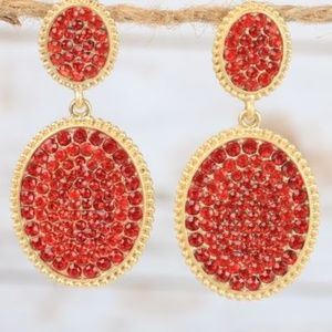 Red & Gold Crystal Oval Drop Earrings